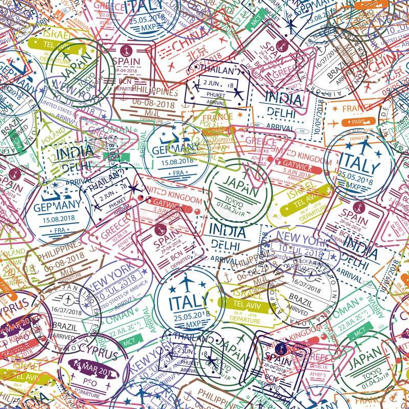 Modèle sans couture de sceau de passeport Fond de voyage avec le sceau de différents pays de l'Europe et de l'Asie illustration stock