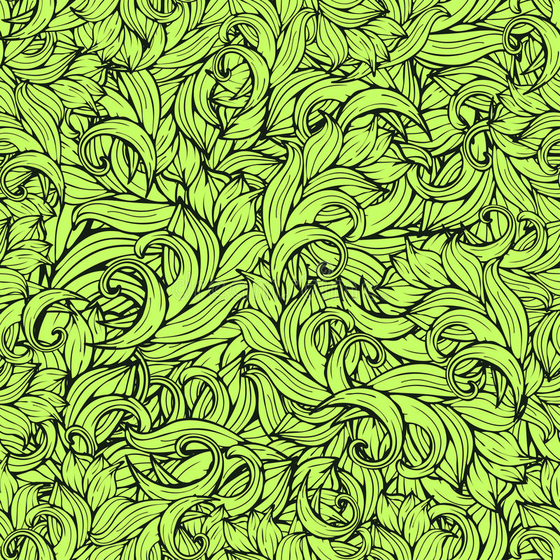 Modèle sans couture de scrollwork abstrait, fond de vecteur Les plantes vertes, herbe, boucles, ondule Ornement floral stylisé na illustration de vecteur