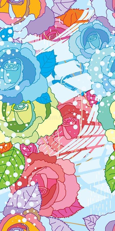 Modèle sans couture de sensation de l'eau de Rose long illustration de vecteur