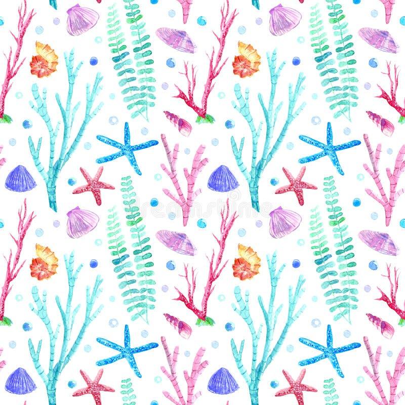 Modèle sans couture de Shell, d'étoiles de mer, d'algue, de corail et de bulles illustration stock