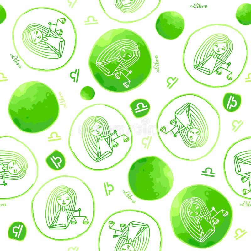 Modèle sans couture de signe de zodiaque de Balance illustration de vecteur