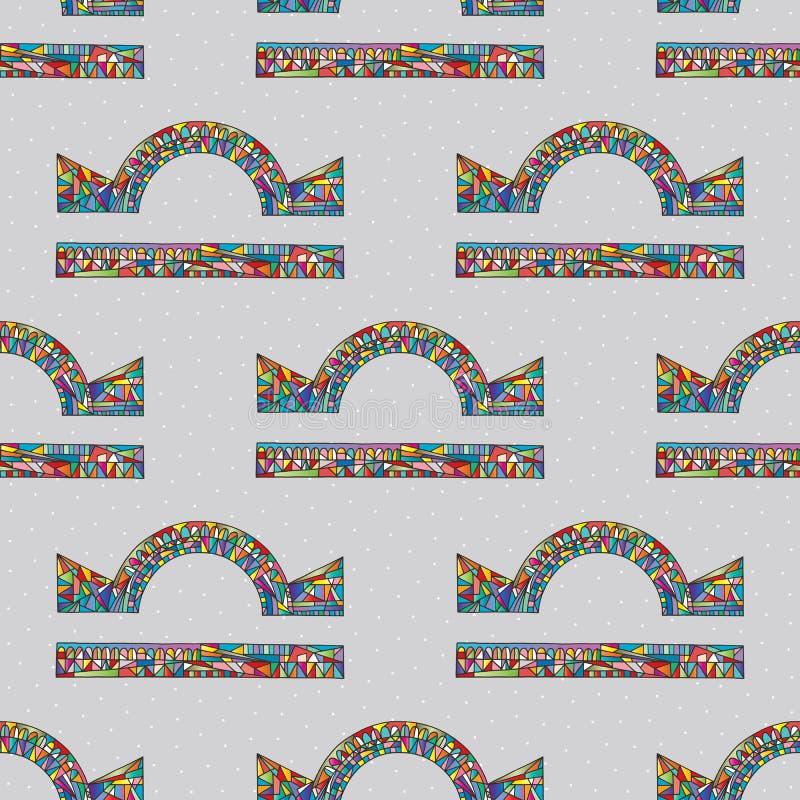 Modèle sans couture de signe de zodiaque de Balance Fond magique de symbole d'horoscope Texture colorée astrologique tirée par la illustration stock