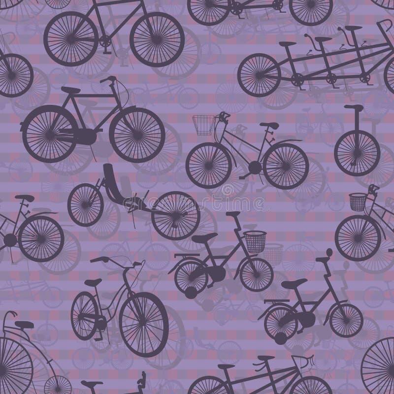 Modèle sans couture de silhouette de bicyclette illustration stock