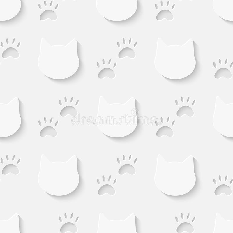Modèle sans couture de silhouette de tête et de patte de chat illustration de vecteur