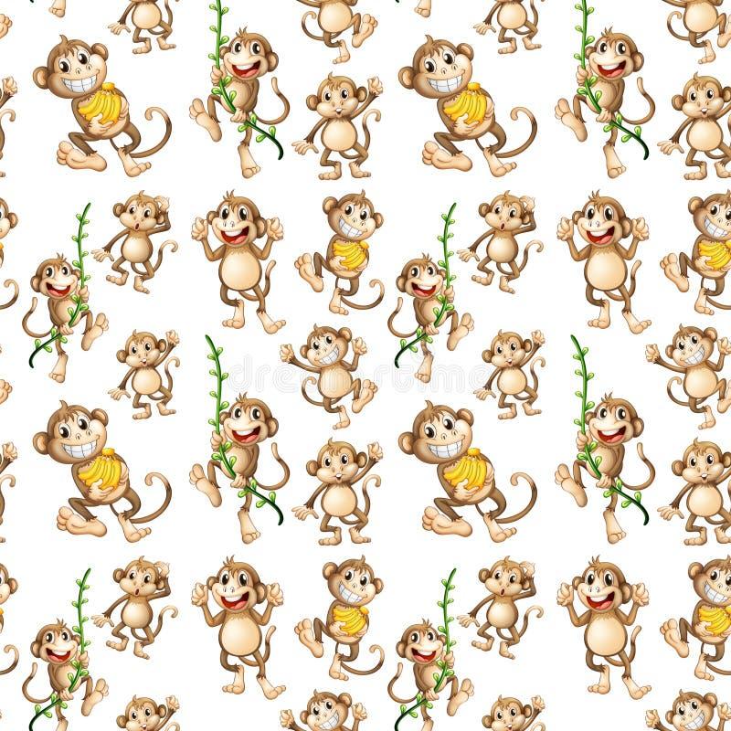 Modèle sans couture de singe heureux illustration stock