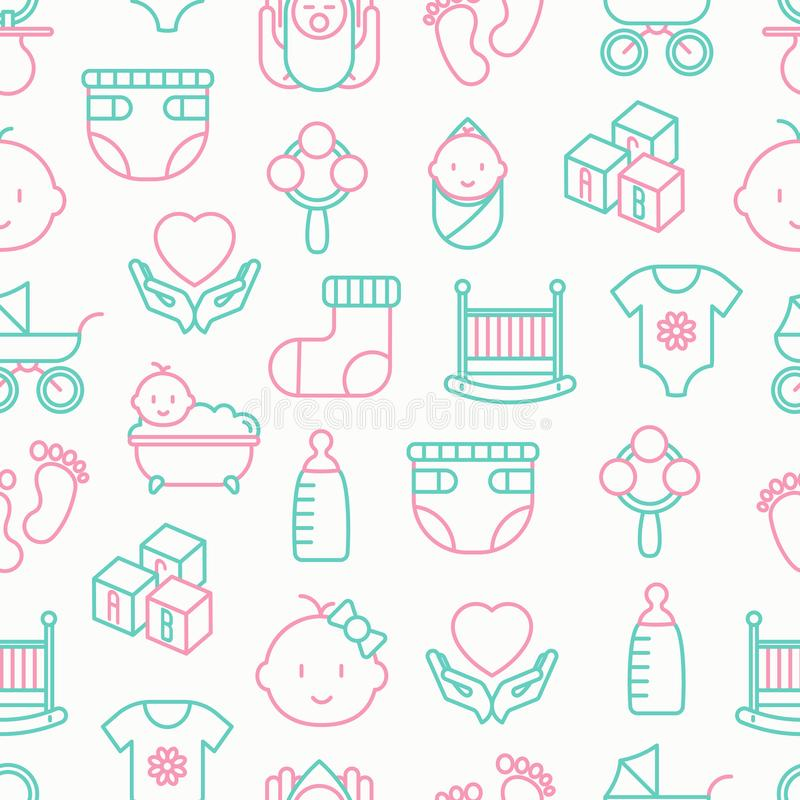 Modèle sans couture de soin de bébé illustration stock