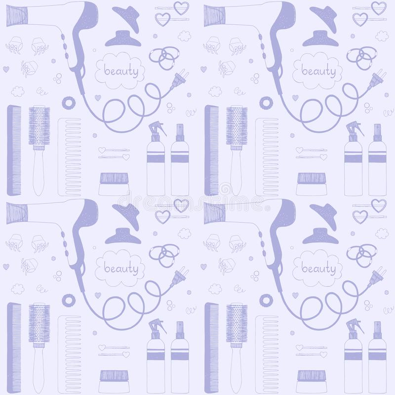 Modèle sans couture de soin de beauté de salon Ensemble tiré par la main de dénommer de cheveux Sèche-cheveux, brosses à cheveux, illustration de vecteur