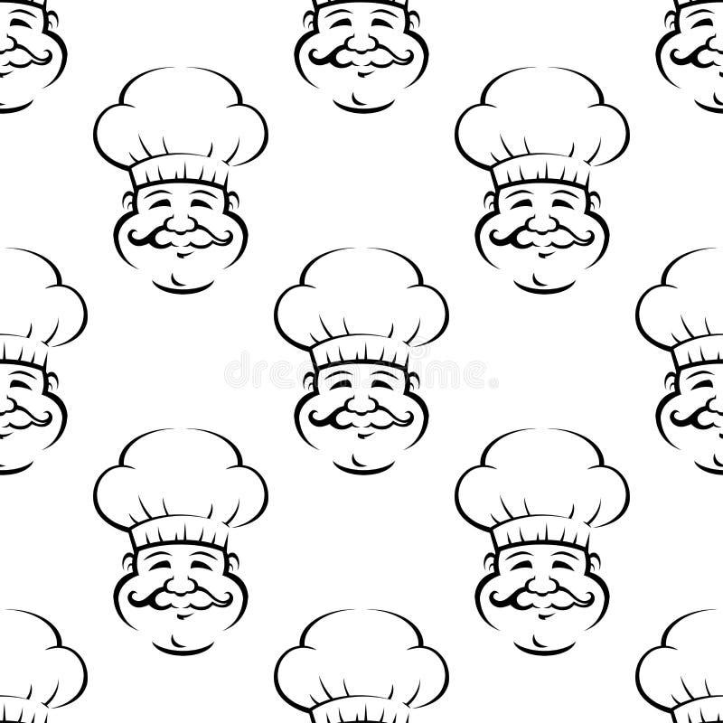 Modèle sans couture de sourire de boulanger ou de chef illustration de vecteur