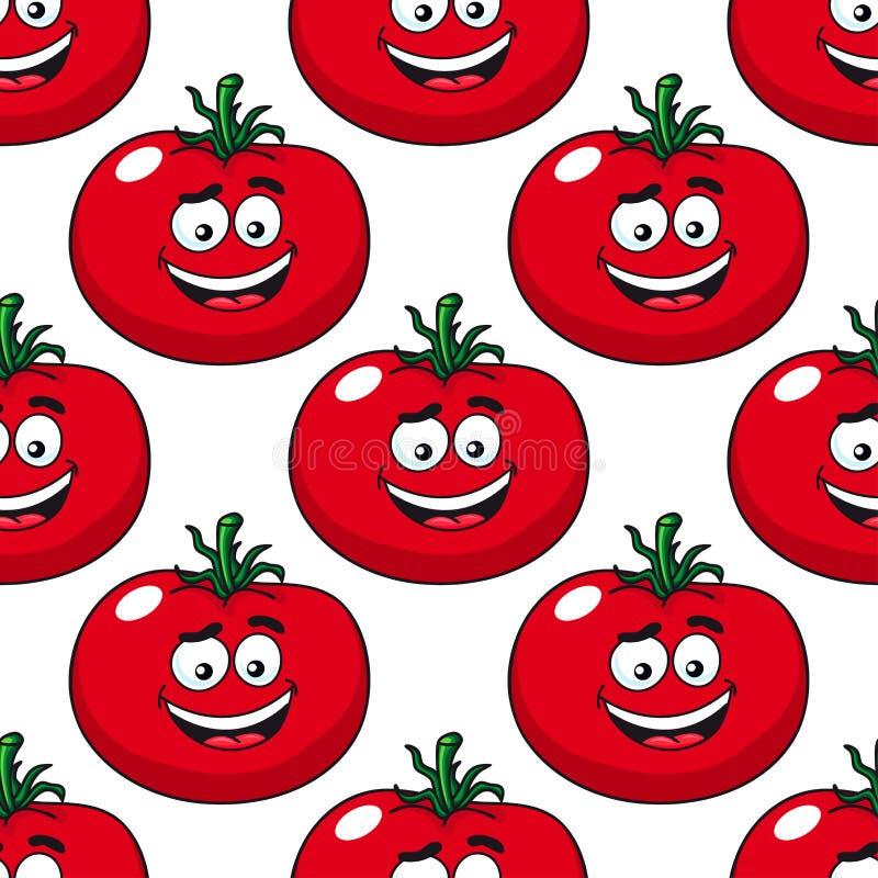 Modèle sans couture de sourire de tomates rouges de bande dessinée illustration stock