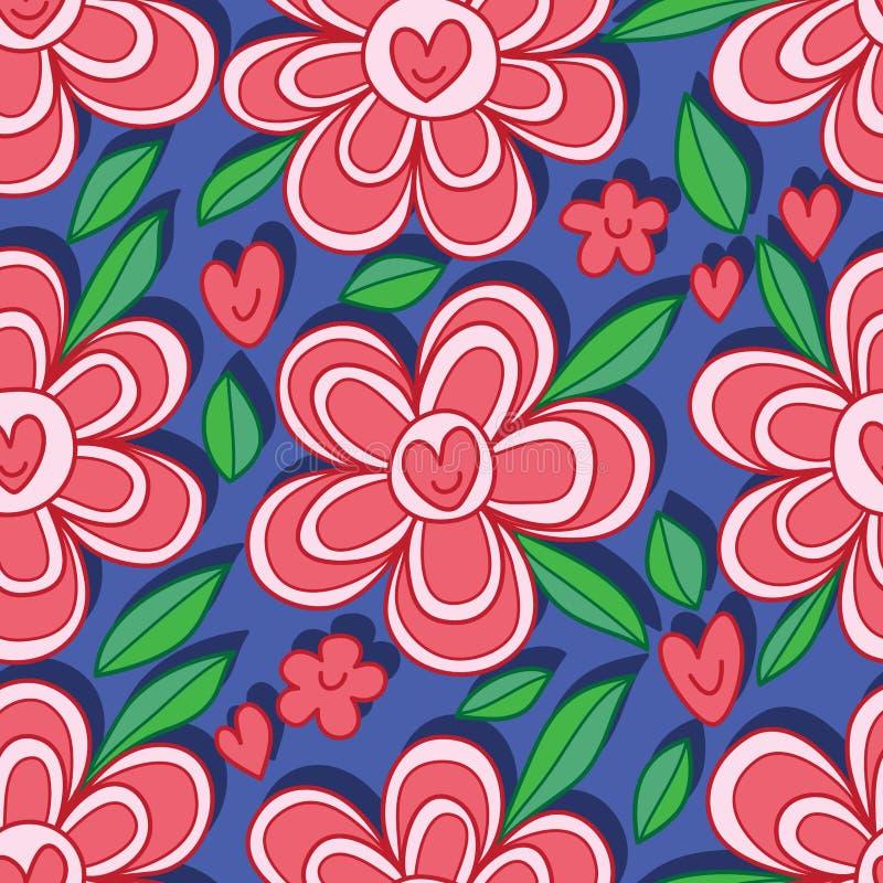Modèle sans couture de sourire de fleur d'amour illustration stock