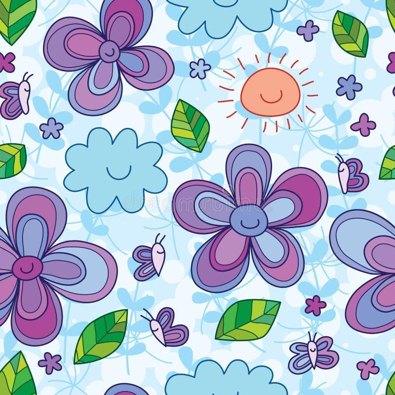 Modèle sans couture de sourire de fleur de sourire de papillon illustration de vecteur
