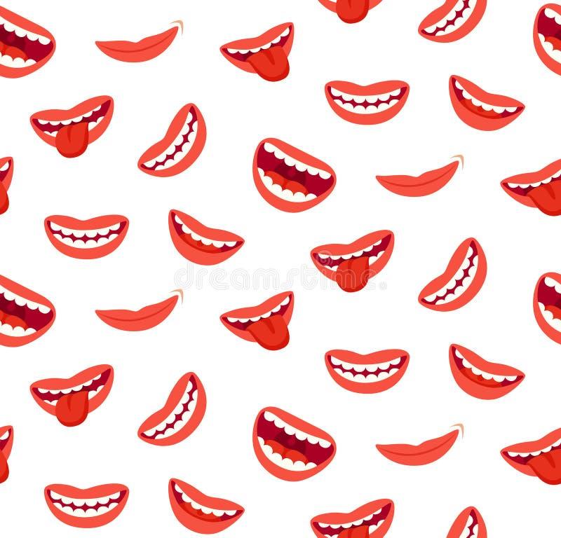 Modèle sans couture de sourire de lèvres de bande dessinée Bouche riante avec la langue Texture joyeuse drôle de vecteur illustration libre de droits