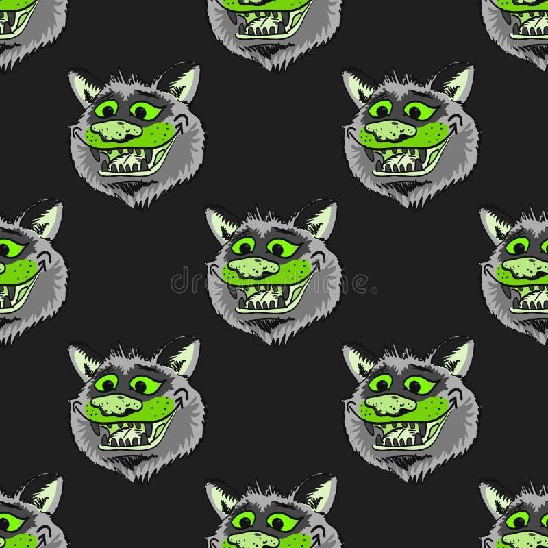 Modèle sans couture de sourire de loup génial illustration de vecteur