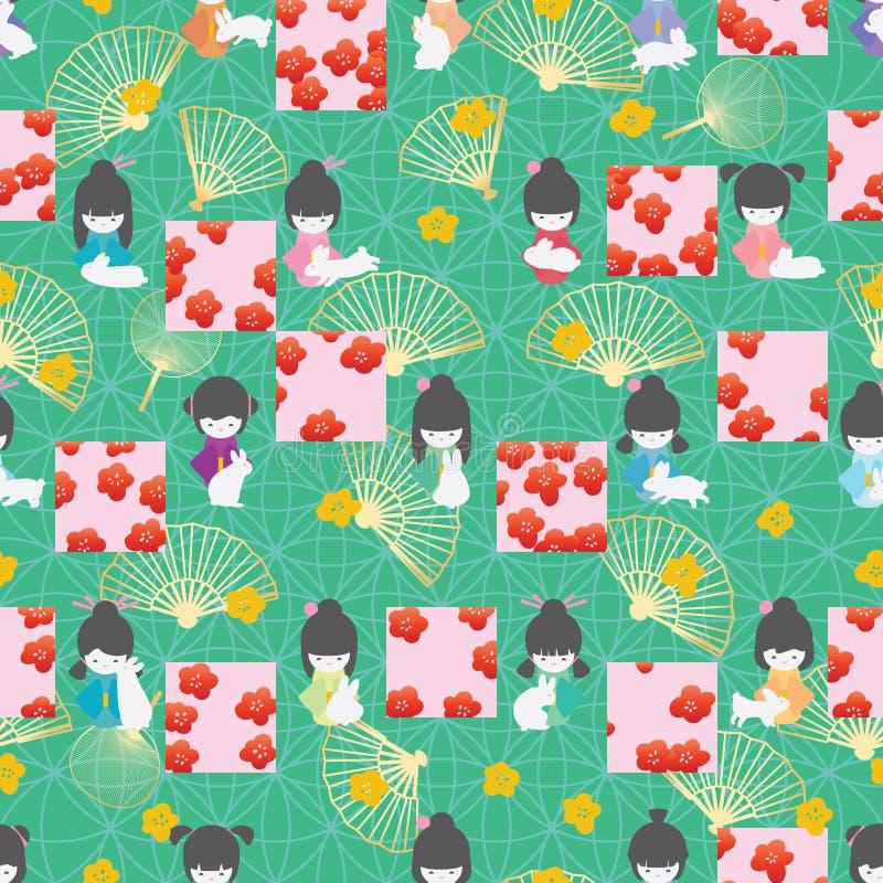 Modèle sans couture de style de Sakura de place de symétrie de lapin de poupée du Japon illustration libre de droits