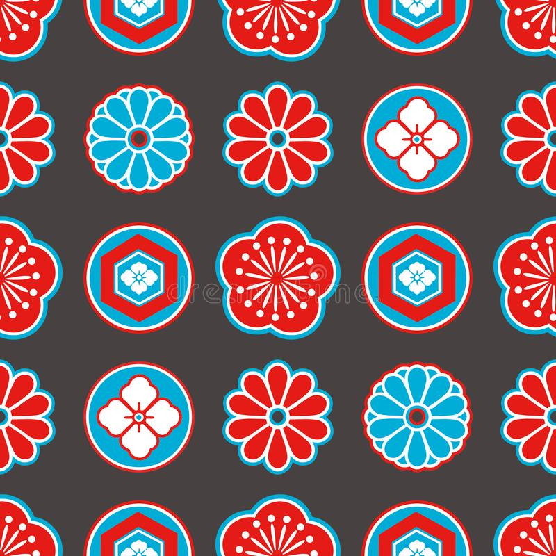 Modèle sans couture de style de l'Asie avec les fleurs ornementales japonaises rouges et bleues et les éléments géométriques sur  illustration stock