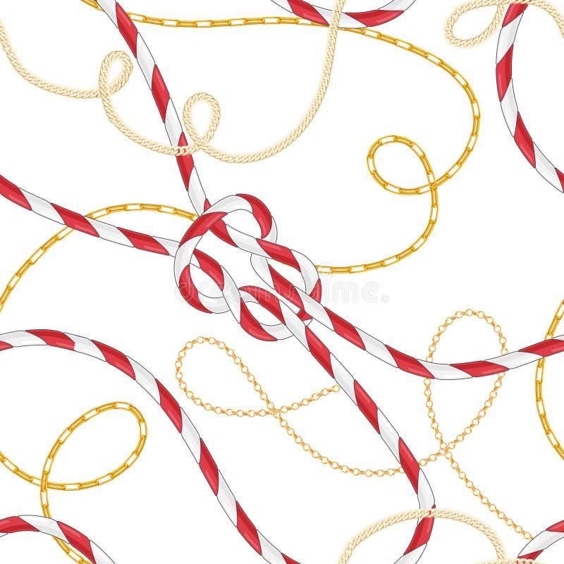 Modèle sans couture de style nautique avec Marine Rope Knots et les chaînes d'or à la mode Conception de tissu de mode avec des é illustration libre de droits