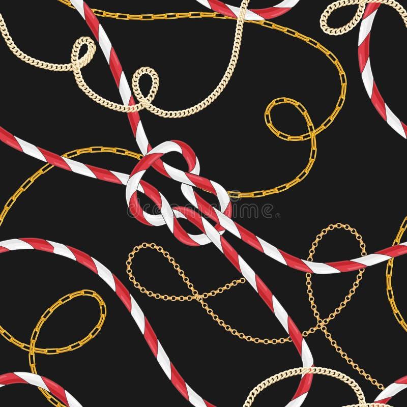 Modèle sans couture de style nautique avec Marine Rope Knots et les chaînes d'or à la mode Conception de tissu de mode avec des é illustration de vecteur