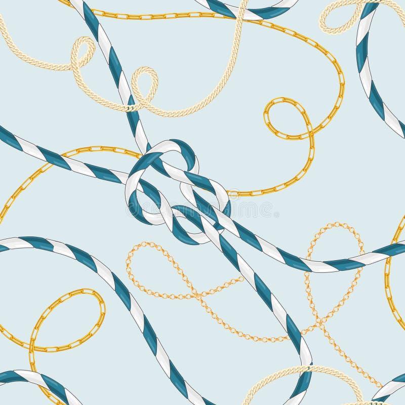 Modèle sans couture de style nautique avec Marine Rope Knots et les chaînes d'or à la mode Conception de tissu de mode avec des é illustration stock