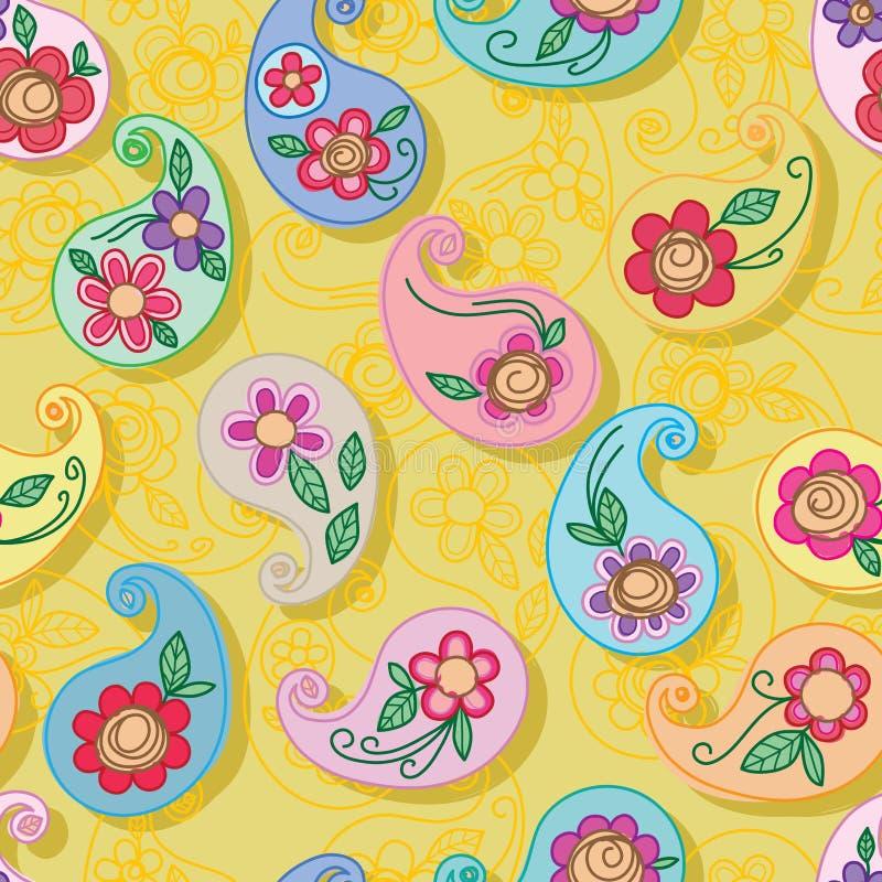 Modèle sans couture de style de Paisley de couleur gratuite de jaune illustration de vecteur
