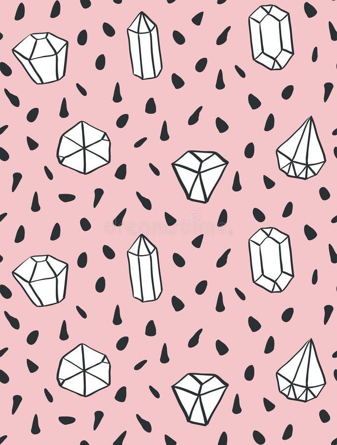 Modèle sans couture de style tiré par la main avec des formes de diamant illustration libre de droits