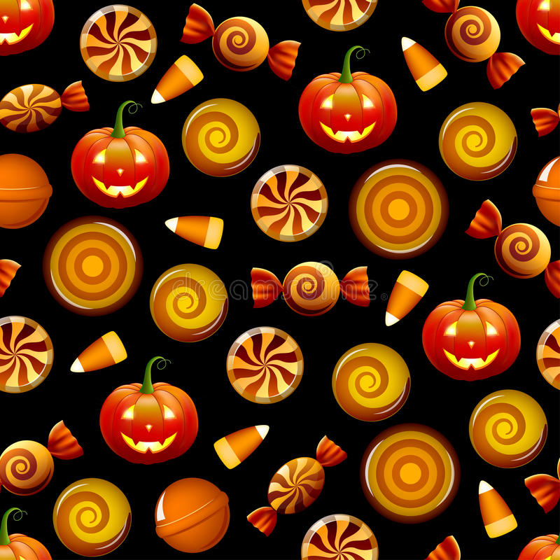 Modèle sans couture de sucrerie de Halloween avec des potirons illustration stock