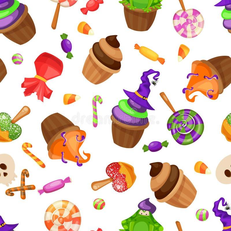 Modèle sans couture de sucrerie de Halloween Texture avec des bonbons, des bonbons au maïs et des potirons sur le fond noir Illus illustration de vecteur