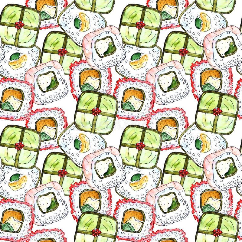 Modèle sans couture de sushi illustration libre de droits