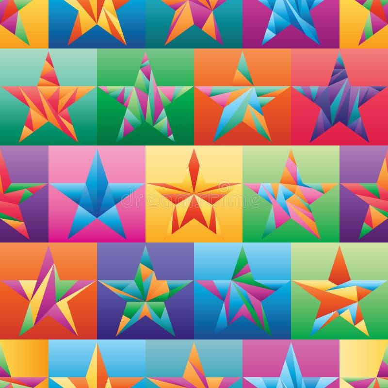 Modèle sans couture de symétrie de couleur de coupe de triangle d'étoile illustration libre de droits