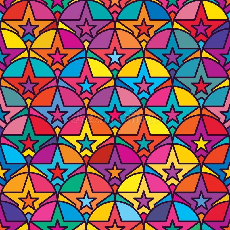 Modèle sans couture de symétrie d'en demi-cercle d'étoile illustration stock