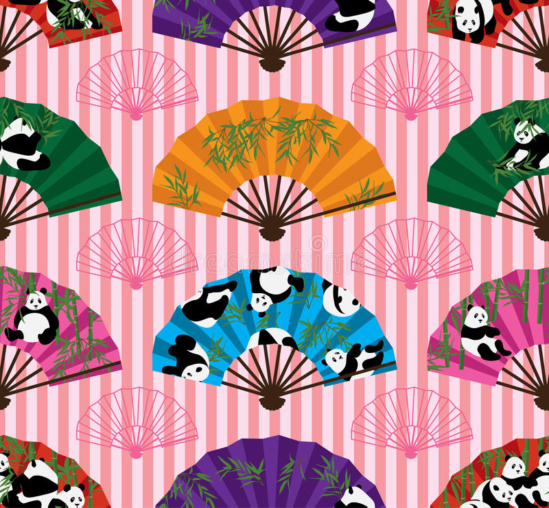 Modèle sans couture de symétrie de fan de panda illustration stock
