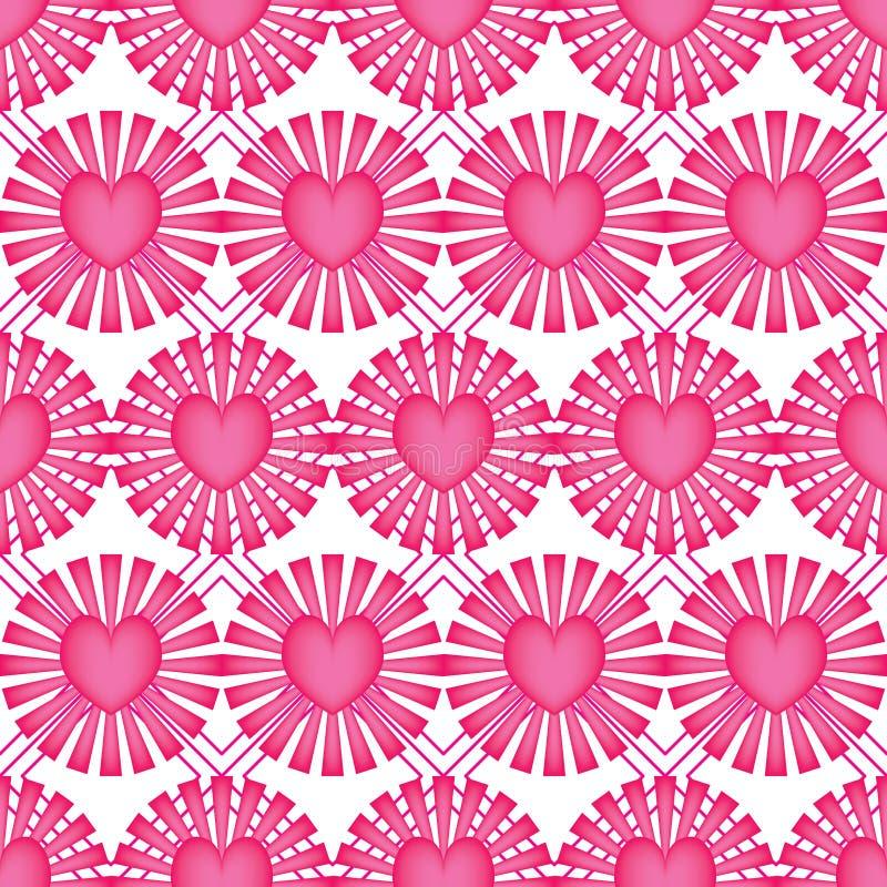 Modèle sans couture de symétrie de forme de diamant de rose de rayon d'amour illustration stock