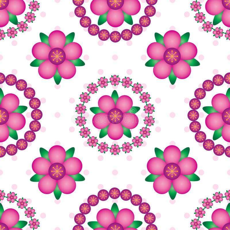 Modèle sans couture de symétrie de mandala de gradient de fleur illustration stock