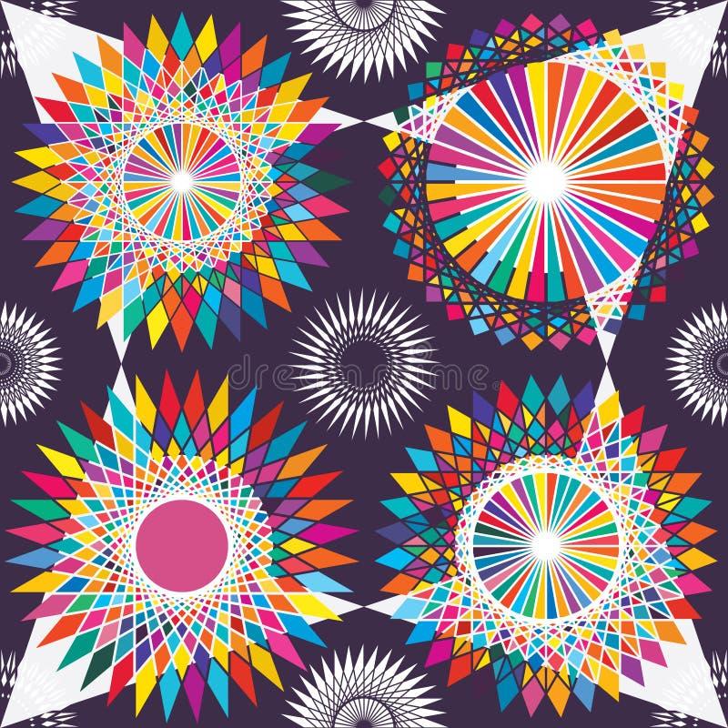 Modèle sans couture de symétrie tribale colorée de cercle illustration stock