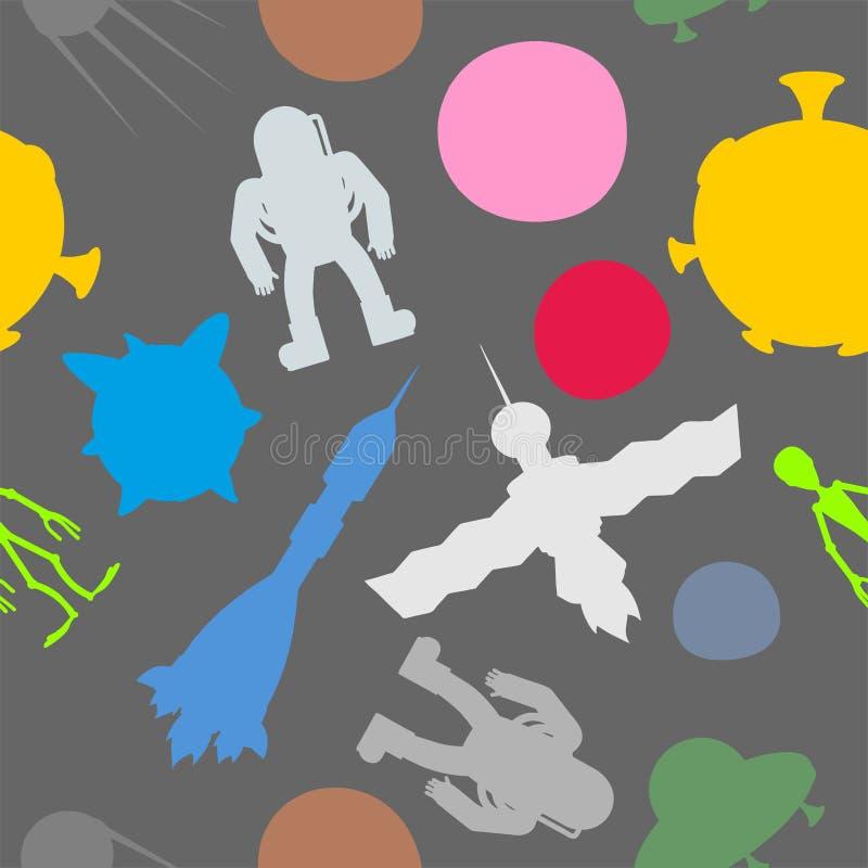 Modèle sans couture de symbole de l'espace de silhouette : astronaute et UFO, roc illustration stock