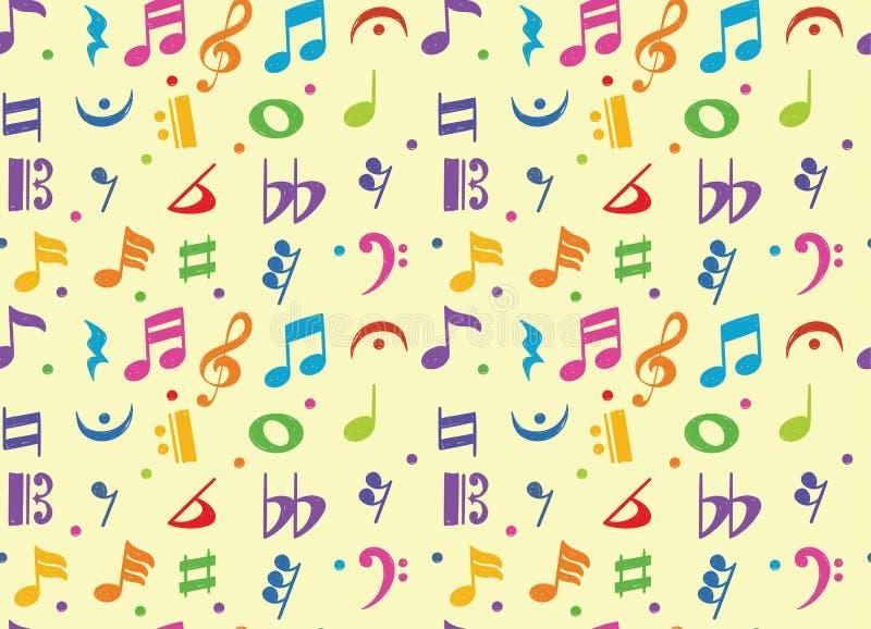 Modèle sans couture de symbole de griffonnage de note musicale illustration de vecteur