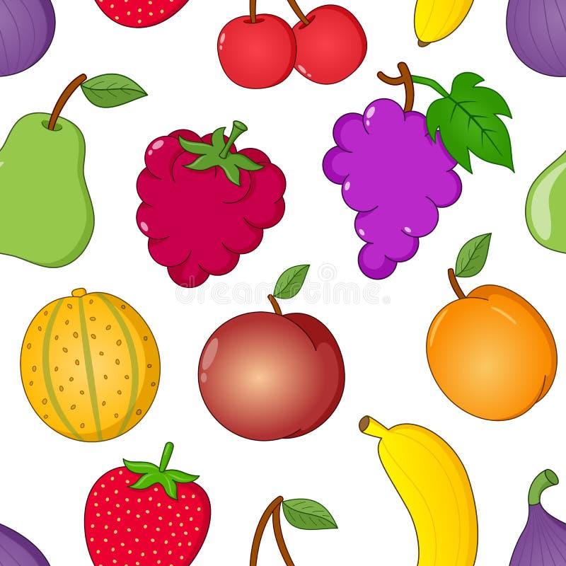 Modèle sans couture de symboles de fruit sur le blanc illustration de vecteur