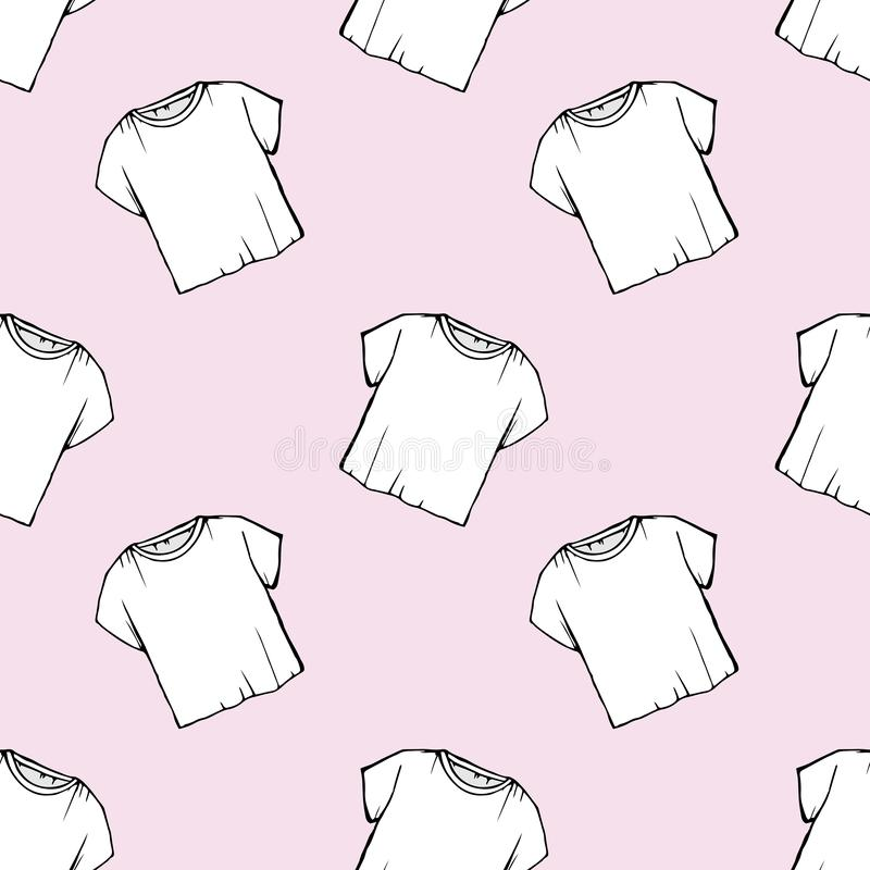 Modèle sans couture de T-shirt blanc de vecteur conception de blanchisserie nettoyage à sec de dégagement empaquetage T-shirt bla illustration de vecteur