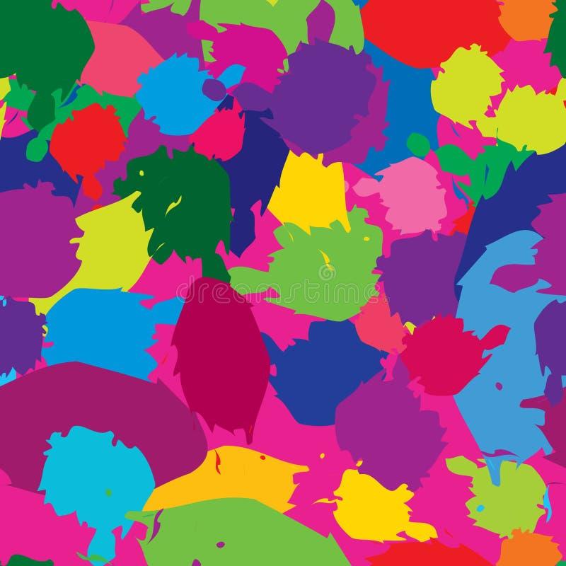 Modèle sans couture de tache abstraite d'éclaboussure CCB multicolore de taches de tache illustration de vecteur