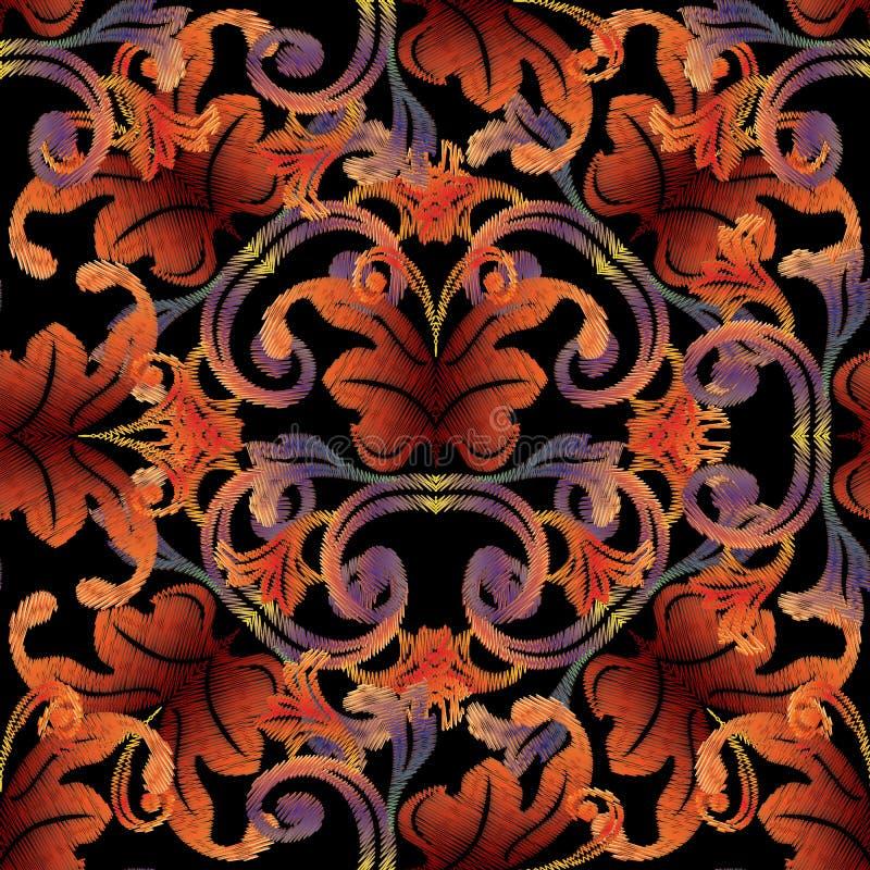 Modèle sans couture de tapisserie baroque Fond de vintage de vecteur wal illustration libre de droits