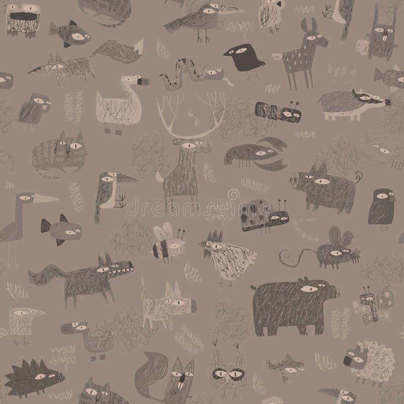 Modèle sans couture de tapisserie d'animaux dans le gris illustration stock