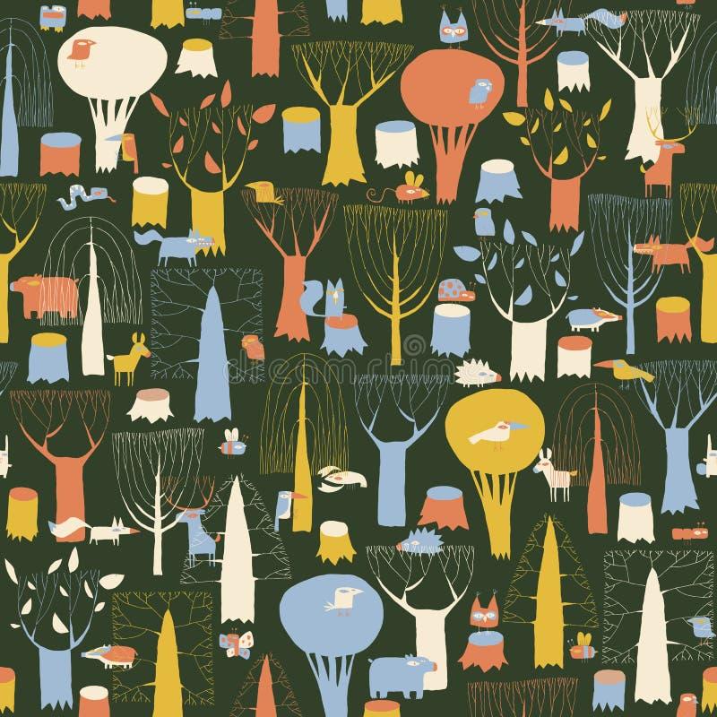 Modèle sans couture de tapisserie en bois d'animaux dans de rétros couleurs illustration libre de droits