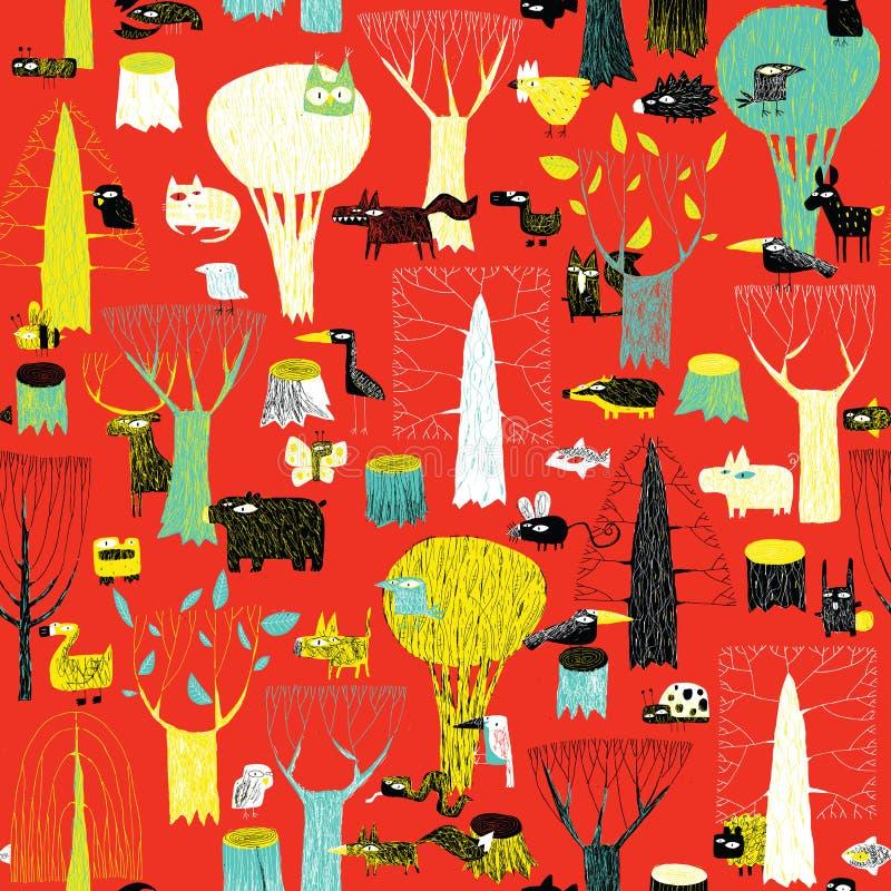 Modèle sans couture de tapisserie en bois d'animaux dans des couleurs de bruit illustration libre de droits