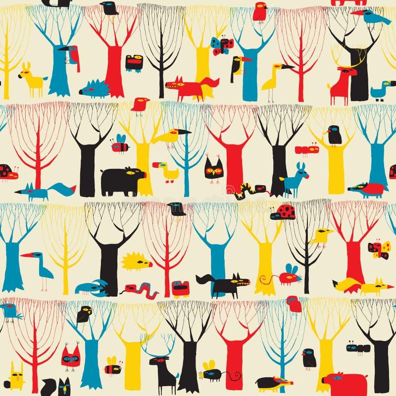 Modèle sans couture de tapisserie en bois d'animaux dans des couleurs modernistes illustration stock