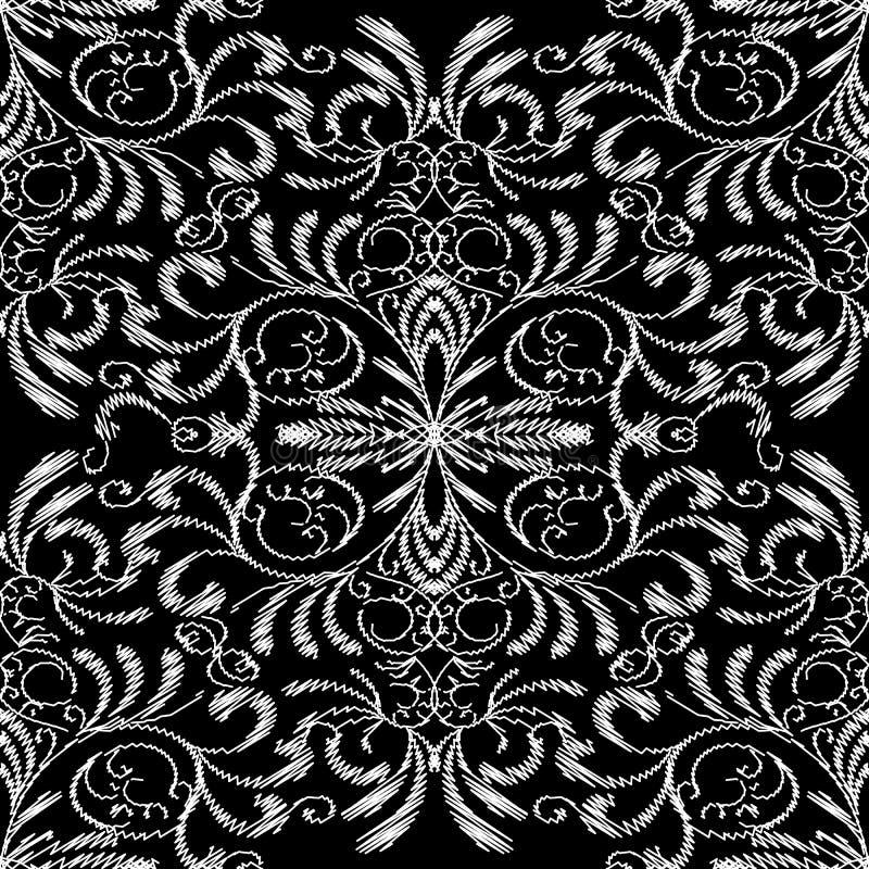 Modèle sans couture de tapisserie florale Blanc de noir de damassé de broderie illustration libre de droits
