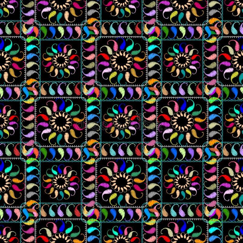 Modèle sans couture de tapisserie de vecteur à carreaux de Paisley Résumé floral illustration de vecteur