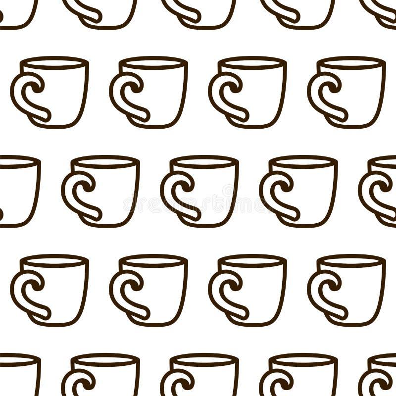 Modèle sans couture de tasse de café Modèle noir et blanc de tasse de café de vecteur mignon Modèle monochrome sans couture de ta illustration stock