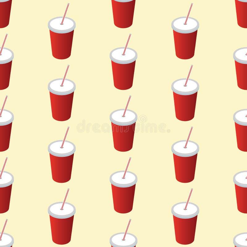 Modèle sans couture de tasse de soude Fond avec une tasse de soude Modèle pour le textile et le tissu Style rouge de boissons de  illustration stock