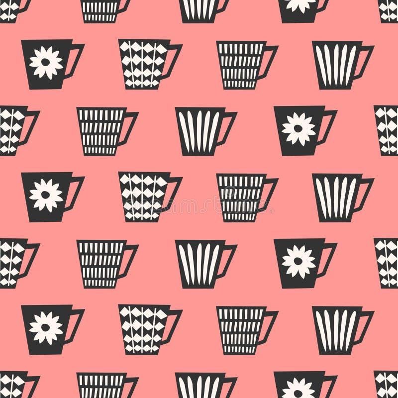 Modèle sans couture de tasses de café illustration stock