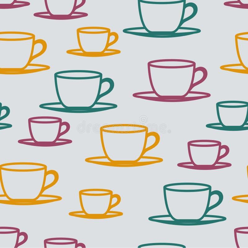 Modèle sans couture de tasses de thé illustration stock