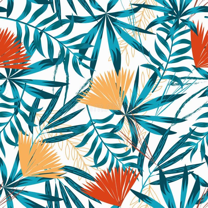 Modèle sans couture de tendance d'été avec les feuilles, les plantes et les fleurs tropicales lumineuses sur le fond blanc Concep illustration de vecteur